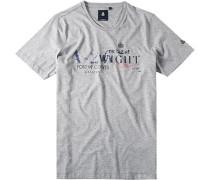 Herren T-Shirt, Baumwolle, hellgrau gemustert