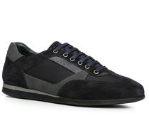 Herren Schuhe Sneaker, Veloursleder-Nylon, navy blau