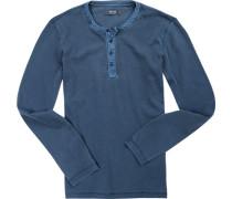 Herren T-Shirt Longsleeve Baumwolle rauchblau meliert
