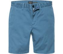 Herren Hose Shorts Straight Fit Baumwoll-Stretch petrol