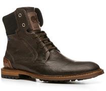 Herren Schuhe Stiefeletten Kalbleder dunkelbraun gemustert