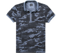 Herren Polo-Shirt Baumwoll-Piqué schwarz-rauch gemustert