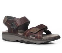 Herren Schuhe Sandalen, Leder, kastanienbraun
