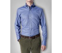 Herren Hemd Shaped Fit Baumwolle blau kariert