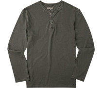 Herren T-Shirt Longsleeve Baumwolle dunkelgrau