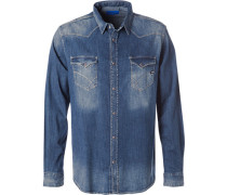Herren Hemd, Slim Fit, Jeans, denim blau