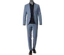 Herren Anzug Super Slim Fit Schurwolle blau-weiß meliert
