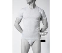 Herren T-Shirts Baumwolle hellgrau-schwarz grau,schwarz