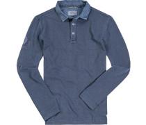 Herren Polo-Shirt, Baumwoll-Piqué, indigo meliert blau