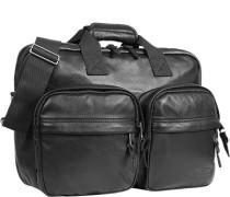 Herren Laptoptasche, Leder, schwarz
