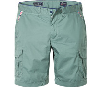 Herren Hose Cargo-Shorts Regular Fit Baumwoll-Stretch hellgrün
