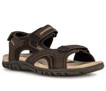 Schuhe Sandalen Leder-Textil dunkel