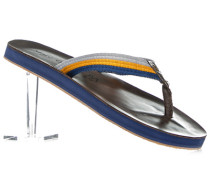 Herren Schuhe Zehensandalen Leder-Textil-Mix gelb-