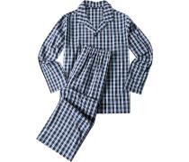 Herren Schlafanzug Pyjama Baumwolle indigo kariert blau