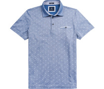 Herren Polo-Shirt, Modern Fit, Baumwoll-Pique, blau gemustert