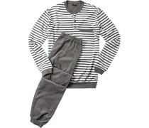 Herren Schlafanzug Pyjama Baumwoll-Frottee dunkelgrau gestreift