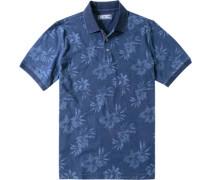 Herren Polo-Shirt Baumwolle indigo floral blau