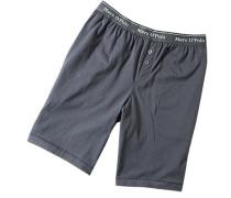 Herren Schlafanzug Pyjama-Bermudas Baumwolle graublau