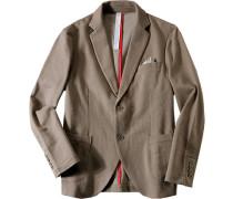 Herren Jersey-Sakko Baumwolle Mit Einstecktuch khaki meliert