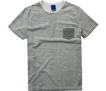Herren T-Shirt, Modern Fit, Baumwolle, schwarz-weiß gestreift