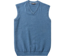 Herren Pullover Pullunder Baumwolle blau meliert grau