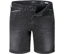 Herren Jeansshorts Regular Slim Fit Baumwoll-Stretch 10oz schwarz
