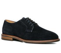 Herren Schuhe Derby Veloursleder dunkelblau blau,beige