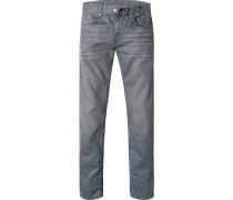 Herren Jeans Slim Fit Baumwoll-Stretch mittelgrau