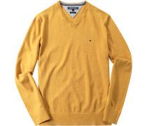 Herren Pullover, Baumwoll-Leinen, gelb