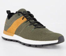 Schuhe Sneaker Leder-Textil dunkel