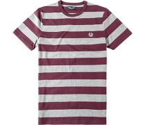 Herren T-Shirt Baumwolle bordeaux-grau gestreift
