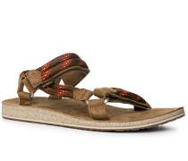 Herren Schuhe Sandalen, Nubukleder-Textil, hellbraun-rot gemustert blau