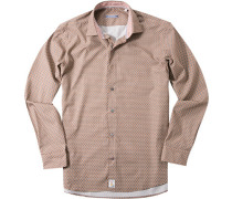 Herren Hemd Modern Fit Popeline beige gemustert