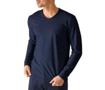 Herren Schlafanzug Longsleeve, Baumwolle, marineblau