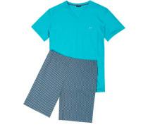 Herren Schlafanzug Pyjama kurz Baumwolle türkis gemustert grün