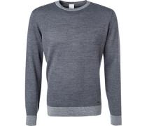 Herren Pullover Wolle grau-schwarz gemustert