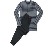 Herren Schlafanzug Pyjama, Baumwolle, schwarz-grau gestreift