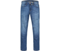 Herren Jeans, Modern Fit, Baumwoll-Stretch, denim blau