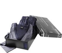 Herren Schlafanzug Pyjama in Geschenkbox Baumwoll-Mix navy-silbergrau gemustert blau