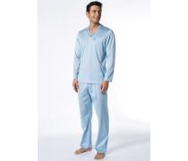 Herren Schlafanzug Pyjama Baumwolle hellblau