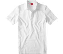 Herren Polo-Shirt, Body Fit, Baumwoll-Piqué, weiß