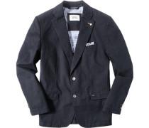 Herren Sakko Comfort Fit Baumwoll-Stretch halbgefüttert navy blau