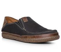 Schuhe Slipper Nubukleder navy