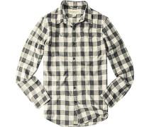 Herren Hemd, Baumwolle, schwarz-grau kariert