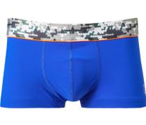 Herren Unterwäsche Trunk Microfaser royal gemustert blau