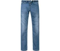 Herren Jeans Low Slim Fit Baumwoll-Stretch jeansblau