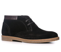 Herren Schuhe Schnürstiefeletten Veloursleder dunkelbraun braun,braun