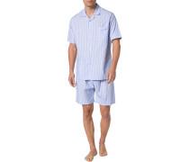 Herren Schlafanzug Pyjama, Baumwolle, bleu-weiß kariert blau