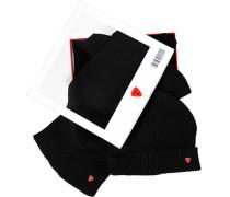 Herren Set Mütze+Schal, Wolle, schwarz