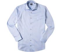 Herren Hemd Slim Fit Fischgrat bleu gemustert blau